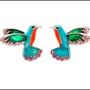 Happy Hummingbird enamel rhinestone earrings 🎀